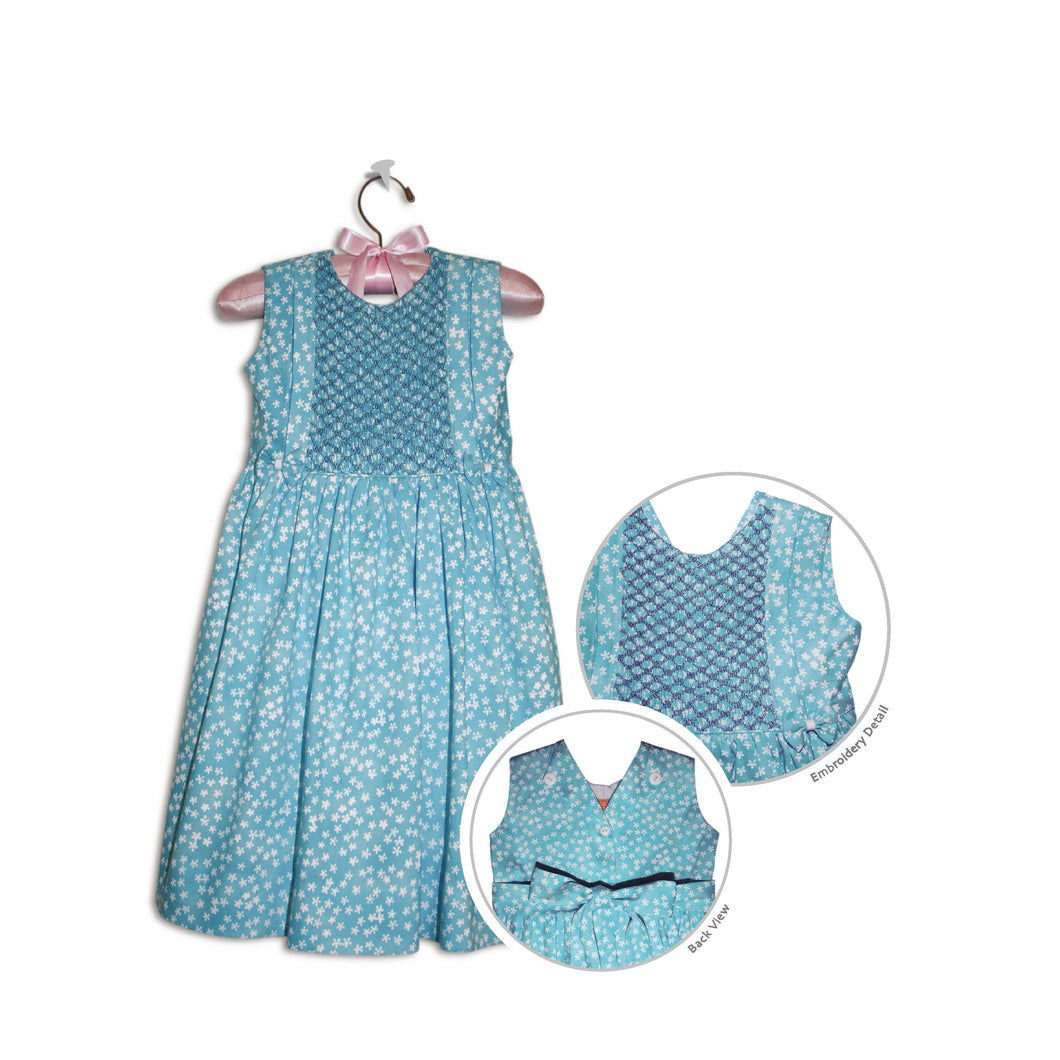 Caprice hand smocked comfortable turquoise floral party sundress - 100% handmade original