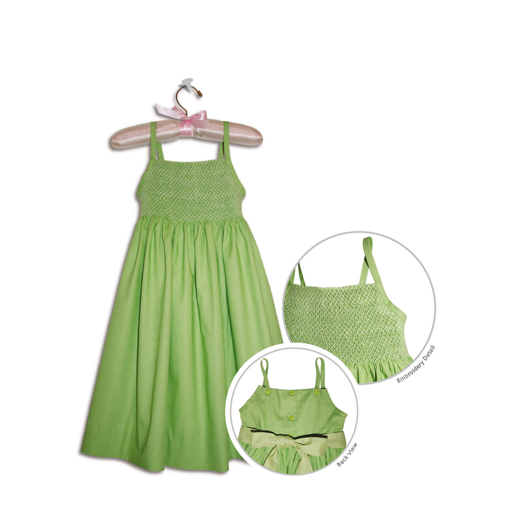 Chiarina hand smocked lime green party sundress - 100% handmade original