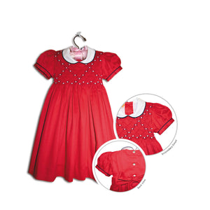 Dafne hand smocked children's red pique party dress - 100% handmade holiday original