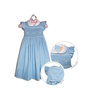 Elena hand smocked children's blue party dress - 100% cotton original