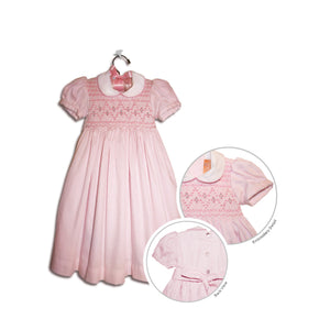 Floriana hand smocked children's pink polka-dot party dress - 100% cotton original