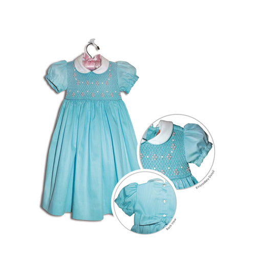 Gianina hand smocked children's turquoise blue party dress - 100% cotton original