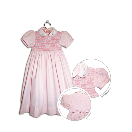 Isabella hand smocked children's pink seersucker party dress - 100% handmade original