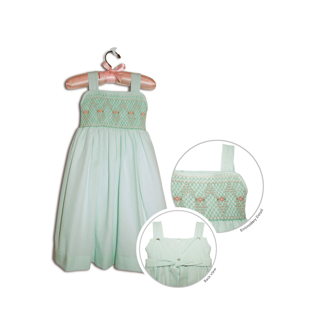Jemma hand smocked children's green gingham party sundress - 100% cotton original
