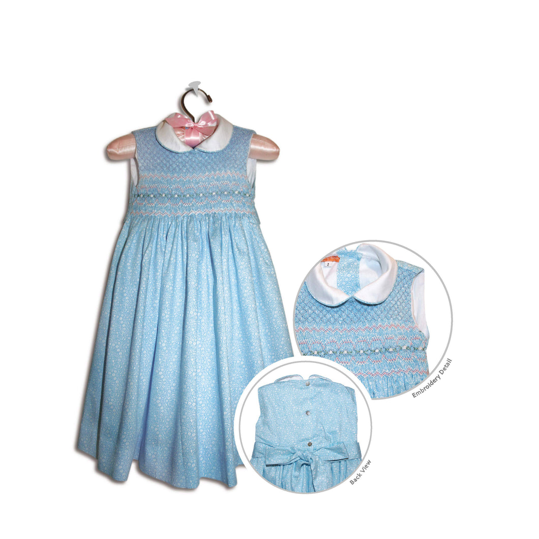 Laura hand smocked children's light blue sleeveless floral party dress - 100% handmade original