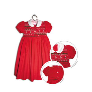 Lia hand smocked children's red velvet corduroy party dress - 100% handmade holiday original