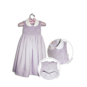 Lillie hand smocked children's lavender sleeveless party dress - 100% cotton original