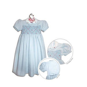Manuela hand smocked children's light blue seersucker party dress - 100% handmade original