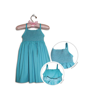 Paolina hand smocked turquoise blue party sundress - 100% handmade original