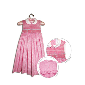 Paula hand smocked children's pink sleeveless floral party dress - 100% handmade original