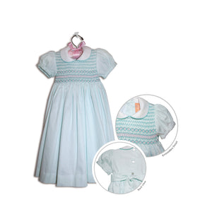 Rosabella hand smocked children's turquoise polka-dot party dress - 100% cotton original