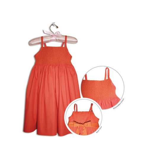 Roselina hand smocked vibrant orange party sundress - 100% handmade original