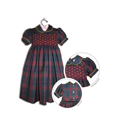Rosina hand smocked children's plaid party dress - 100% handmade holiday original