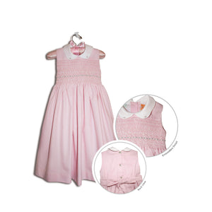 Suzanna hand smocked children's pink sleeveless party dress - 100% cotton original