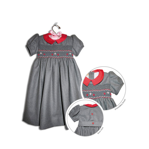 Zara hand smocked children's light grey flannel holiday party dress - 100% handmade original