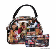 Michelle Obama Patent Leather Small Multi-Color Duffel Bag and wallet. Can be worn as cross body or messenger bag.