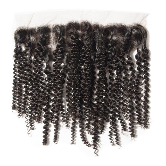 Brazilian Soft Curly Human Hair Extensions | Frontal. Perfect for short hair or to cover bald spots.