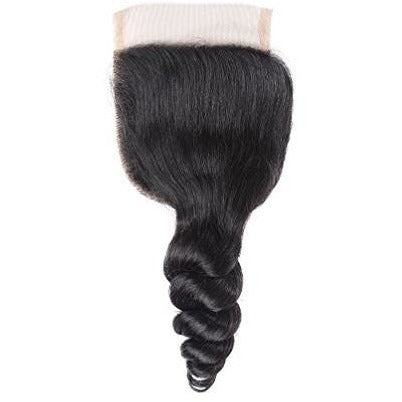 HAIR Envidia Brazilian Loose Wave 100% Virgin Remy Human Hair Pre-Plucked 4x4 Lace Closure Free parting with Baby Hair for a more natural realistic look. Can be sewn or bonded to cover hair wefts/tracks, thinning or balding areas. Perfect for protective hair styles.