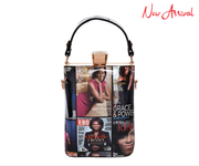 Michelle Obama Magazine Print Jewel-Top Frame 2-Way Petite Small Satchel