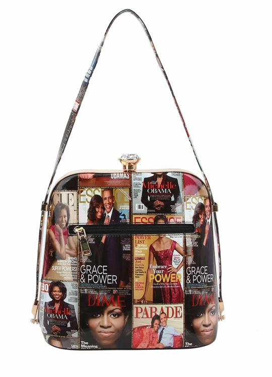 Michelle Obama Magazine Print Jewel Top Shoulder Bag