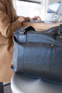 Leather Weekender Tote made in USA