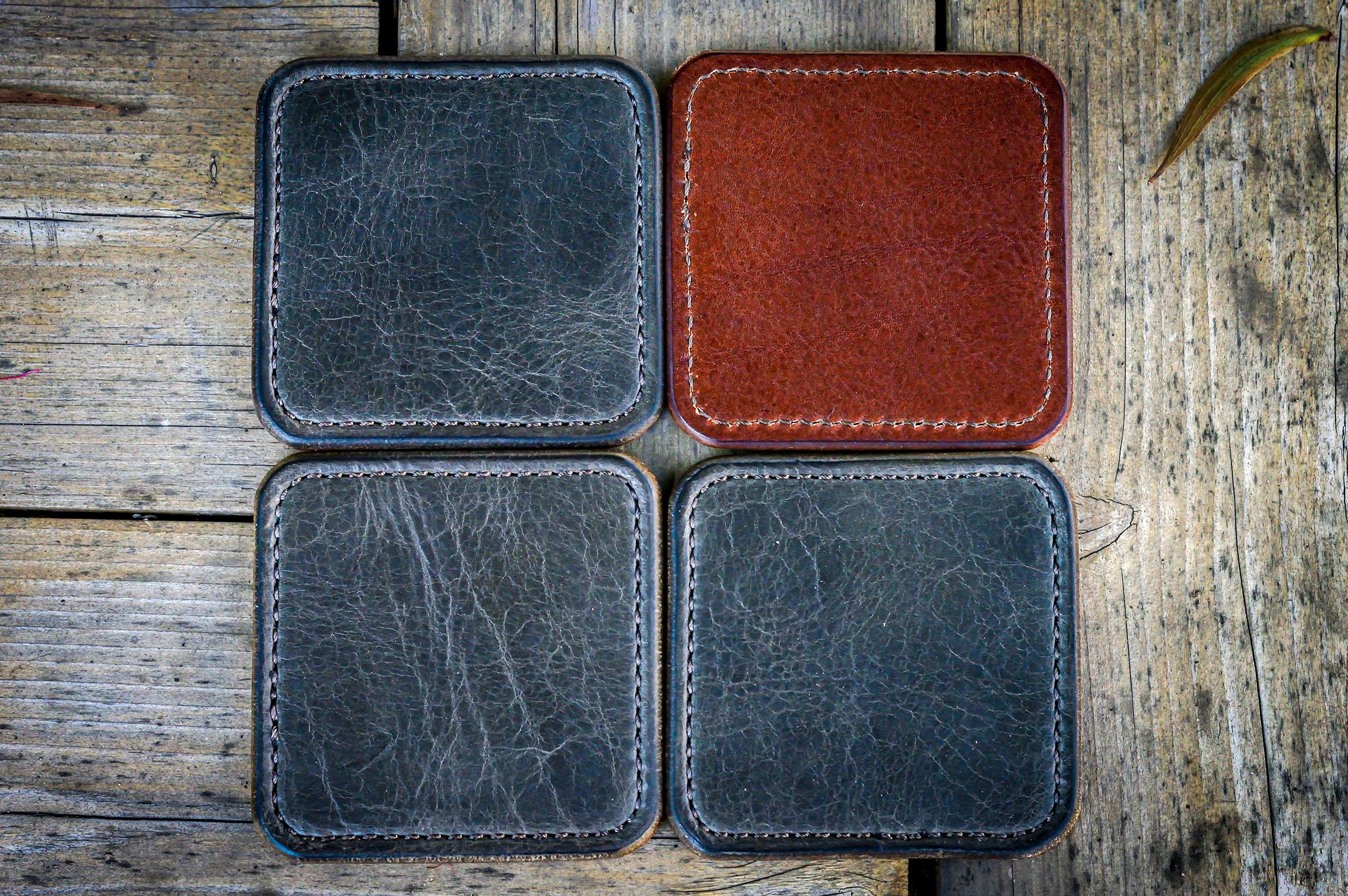 Grey and British Tan Leather Coasters made in the USA