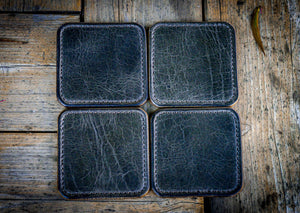 Premium Leather Coasters in Grey and British Tan Leather