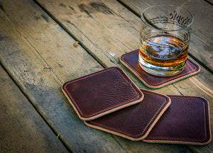 The British Tan and Black Leather Coaster Collection