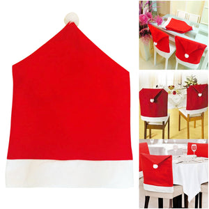 Santa Claus Hat Chair Back Covers