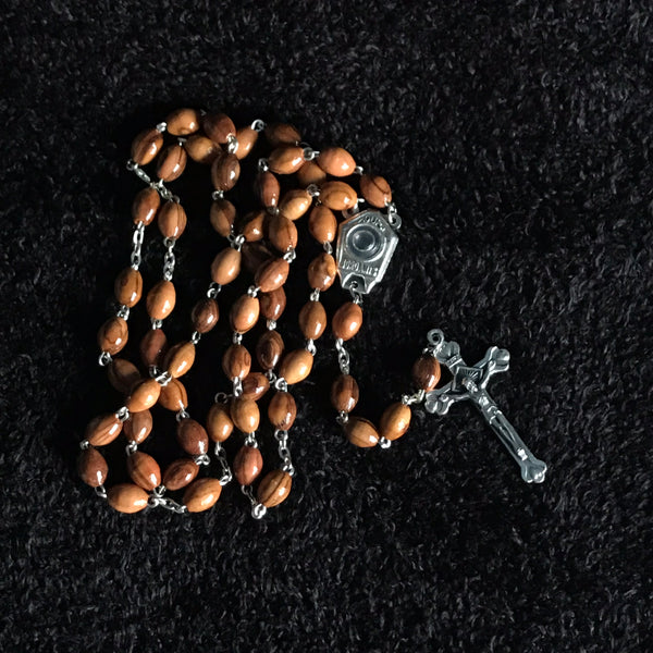 Olive Wood Rosary with Cross and Jordan River Water - ROS-5006
