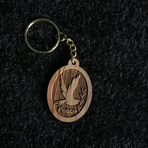 Olive Wood Peace Dove Keychain - AKC-1107