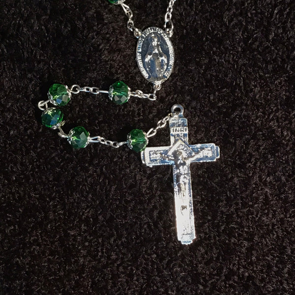 Green Crystal Rosary with Cross - ROS-5012