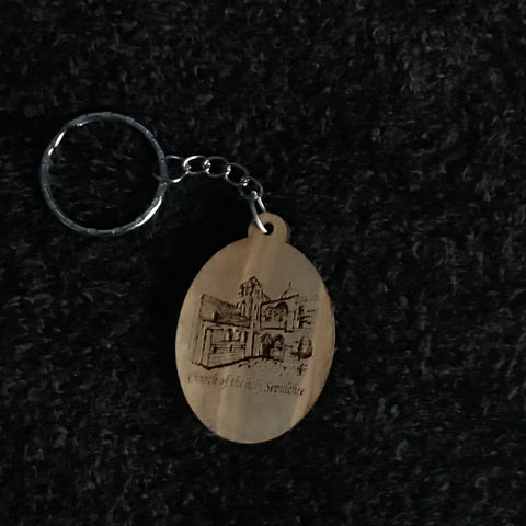 Olive Wood Church of the Holy Sepulchre Keychain - AKC-1101