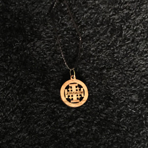 Olive Wood Round Jerusalem Cross Pendant with Necklace - JNE-2107