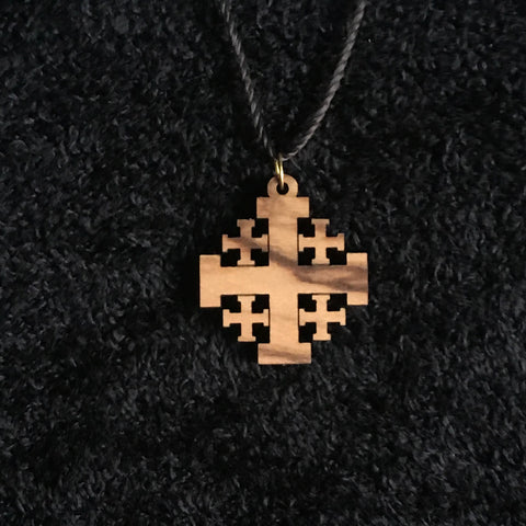 Olive Wood Jerusalem Cross Pendant with Necklace - JNE-2105