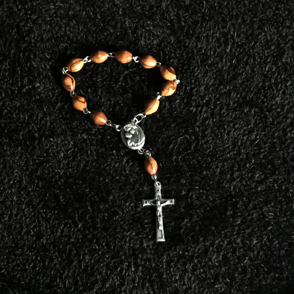 Olive Wood Finger Rosary with Cross and Holy Land Soil - ROS-5001