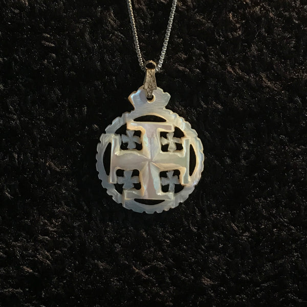 "Mother of Pearl Round Jerusalem Cross Necklace with 17.5"" Silver Chain - JNE-2104"
