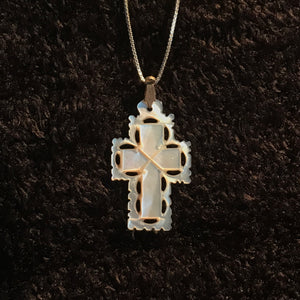 "Mother of Pearl Cross Necklace with 17.5"" Silver Chain - JNE-2102"