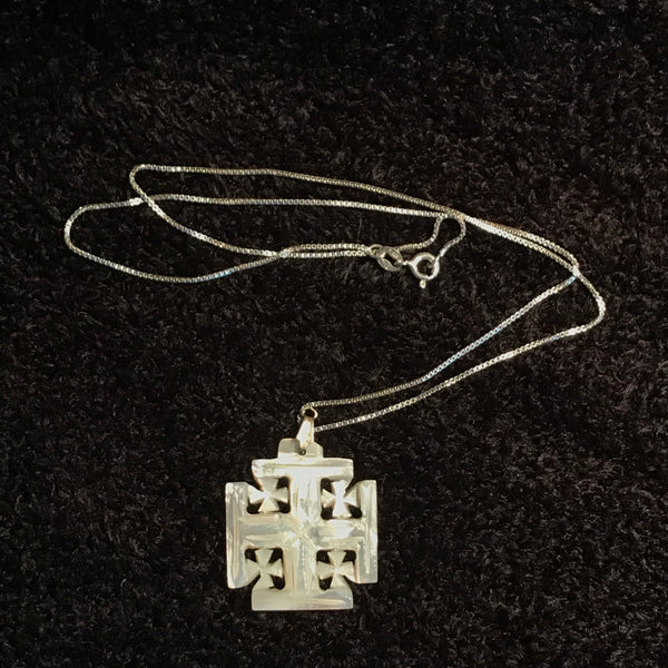 "Mother of Pearl Jerusalem Cross Necklace with 17.5"" Silver Chain - JNE-2103"