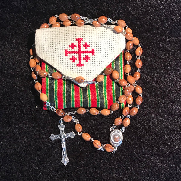 Olive Wood Rosary with Cross and Holy Land Soil in Silk Pouch - ROS-5004