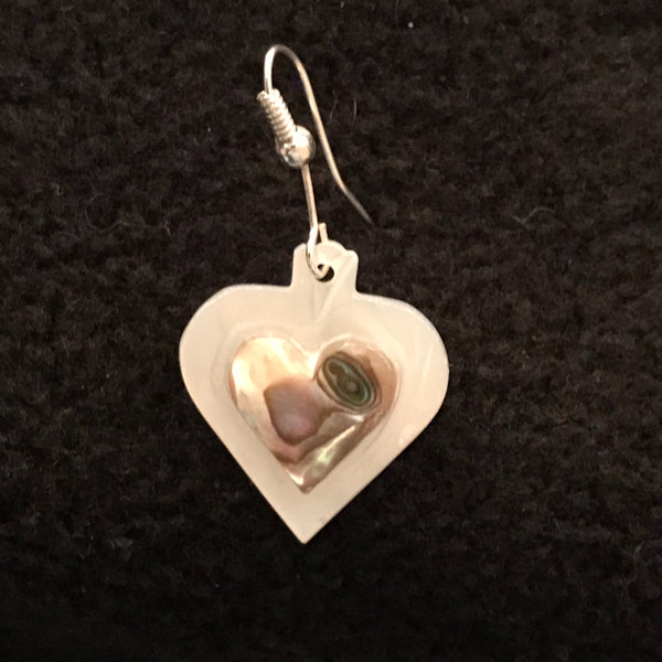 Mother of Pearl & Abalone Heart Earrings - Mauve JEA-2007