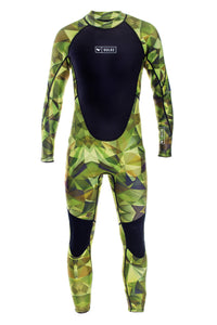 Gulgi Green abstract camo men's 3mm back zip wetsuit