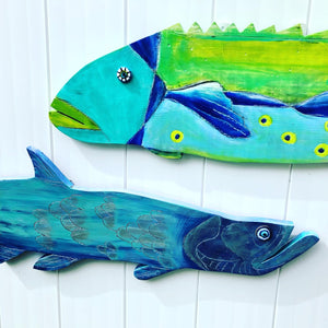 Jeb painted wooden fish