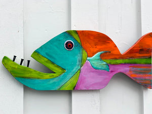"Painted Wooden Sun Fish ""Sydney"""