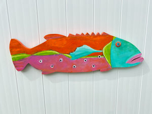 "Painted wooden Grouper ""Stephaine"""