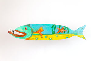 Starr painted wooden fish