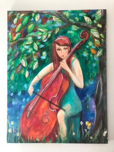 painting, girl with cello, music painting, print of girl with cello, cello print, music print, redhead print
