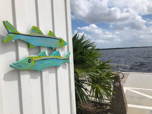 Painted wooden Snook Fish