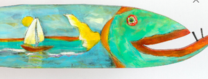 Jacque painted wooden fish