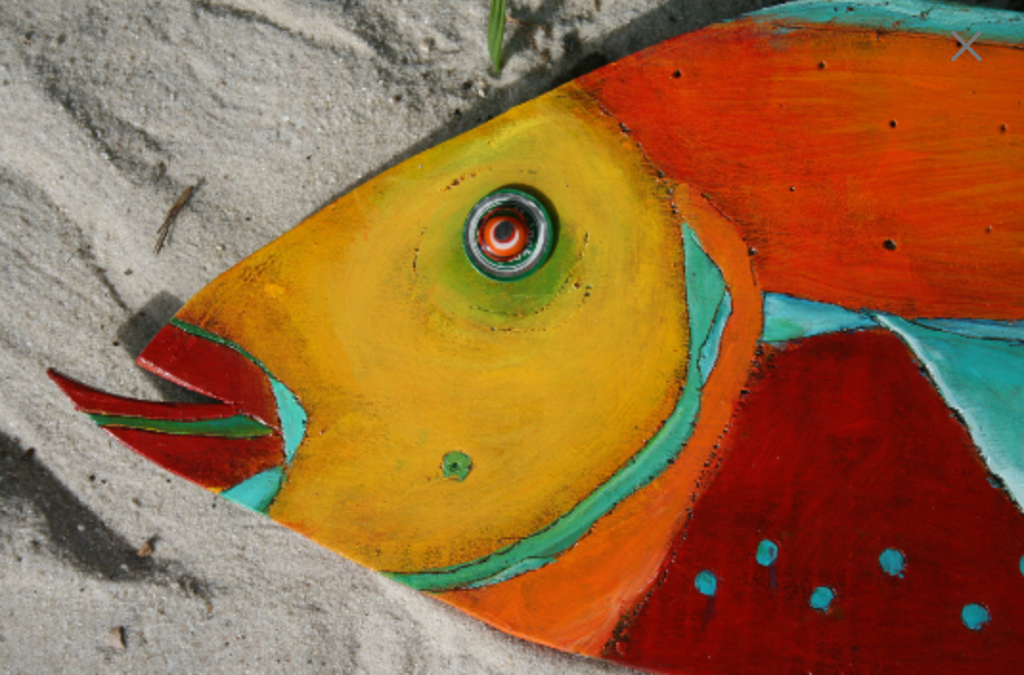 Painted wooden Angel Fish